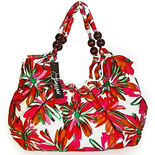 Galian New York Large Floral Print Hobo- Red Multi