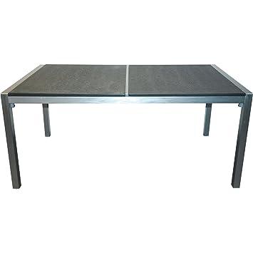 Gartentisch Aluminium Mit Edelstahl Look Und 2 Granit Tischplatten