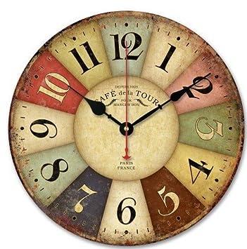 """14"""" Relojes de pared Vintage Madera, Estilo Retro Clásico Cuarzo Ronda decoración Reloj de"""