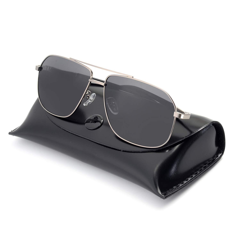 Rezi Sunglasses for Men, Polarized UV400 Protection HD Lenses, Super Light Metal Frame and TR90 Temples for Driving, Fishing, Golfing, Travel (Gun Gray)