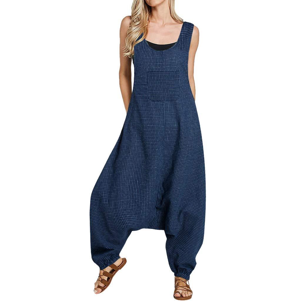 Women Plus Size Overalls Wide Leg Jumpsuits Baggy Bib Pants Casual Rompers Drop Crotch Jumpsuit Suspender Playsuit Blue