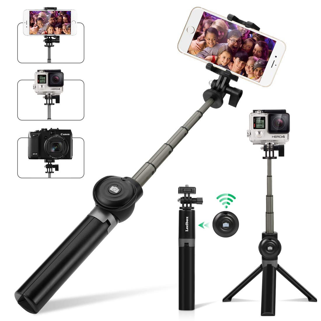 Selfie Stick Tripod, Leelbox Bluetooth Selfie Stick with Tripod and Detachable Wireless Remote, Extendable Monopod Stand Holder Universal for Digital Camera and Android iOS Mobile Smart Phone