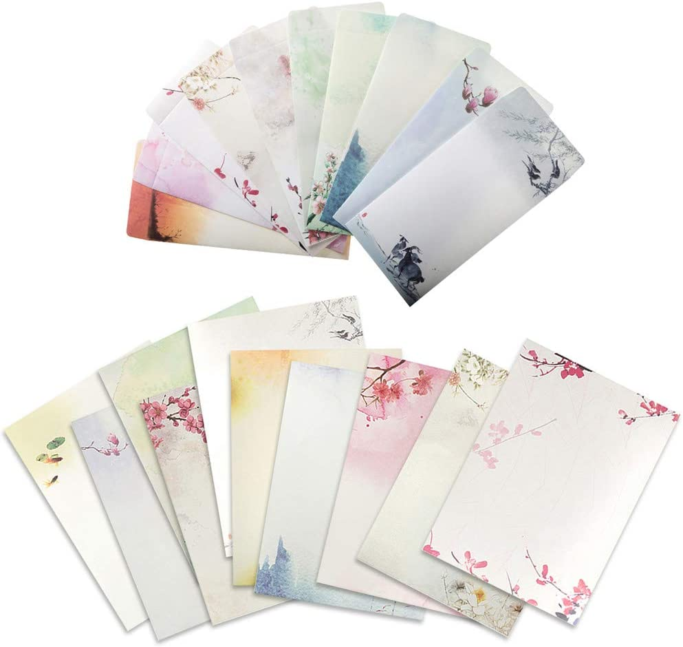 ELTNEGSA Total 60PCS Writing Paper Letter Set (40 stationery Papers + 20 Envelopes) 10 Different Color Ink Painting Classic Vintage Antique Design