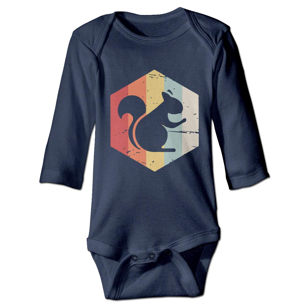 A14UBP Infant Baby Boys Girls Long Sleeve Climb Jumpsuit Retro 70s Squirrel Unisex Button Playsuit Outfit Clothes
