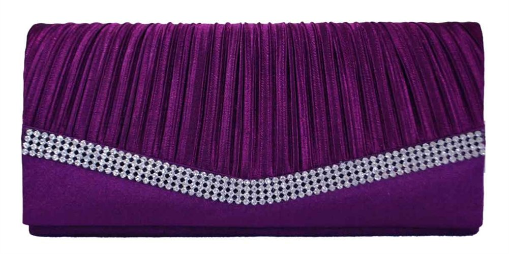 Chicastic Purple Pleated Satin Wedding Evening Bridal Clutch Purse With Rhinestones
