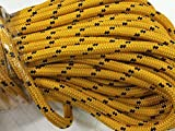 3/4'' X 200' Double Braided Polyester Arborist Bull Rope, Gold/Black
