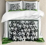 Ambesonne Sports Decor Duvet Cover Set Queen Size, Goal Net Full of Soccer Balls on the Football Field Schoolyard Victory, Decorative 3 Piece Bedding Set with 2 Pillow Shams