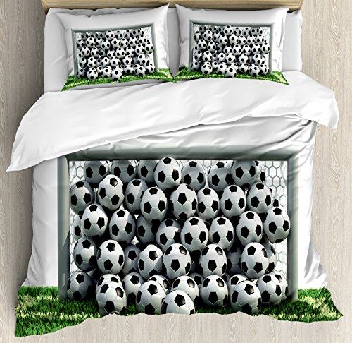 Ambesonne Sports Decor Duvet Cover Set Queen Size, Goal Net Full of Soccer Balls on the Football Field Schoolyard Victory, Decorative 3 Piece Bedding Set with 2 Pillow Shams by Ambesonne