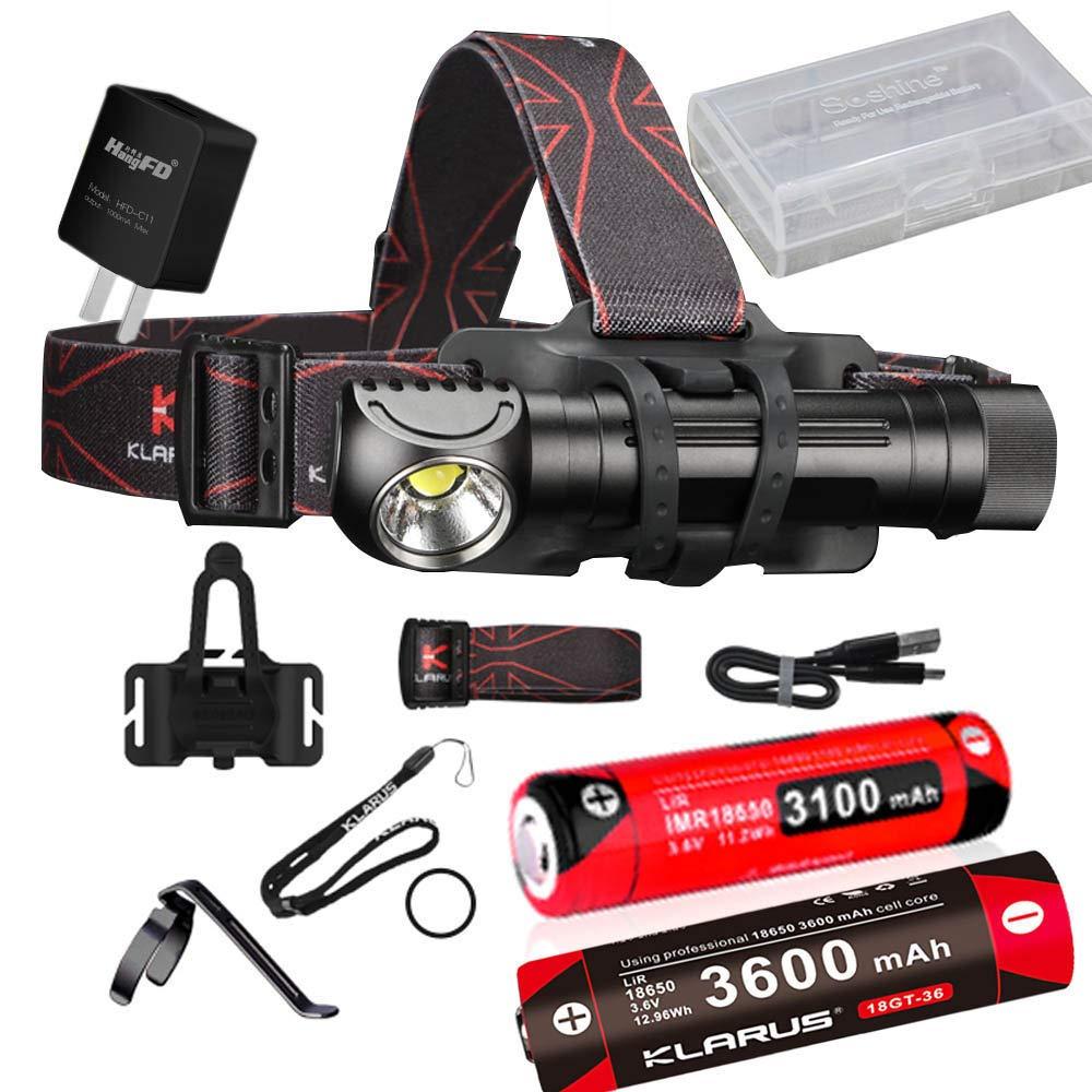 KLARUS HA2C 3200lumens Flashlight CREE XHP70.2 Micro-USB fast charging Multifunctional Rechargeable L-Angle Tool Light headlamp with 2 x battery