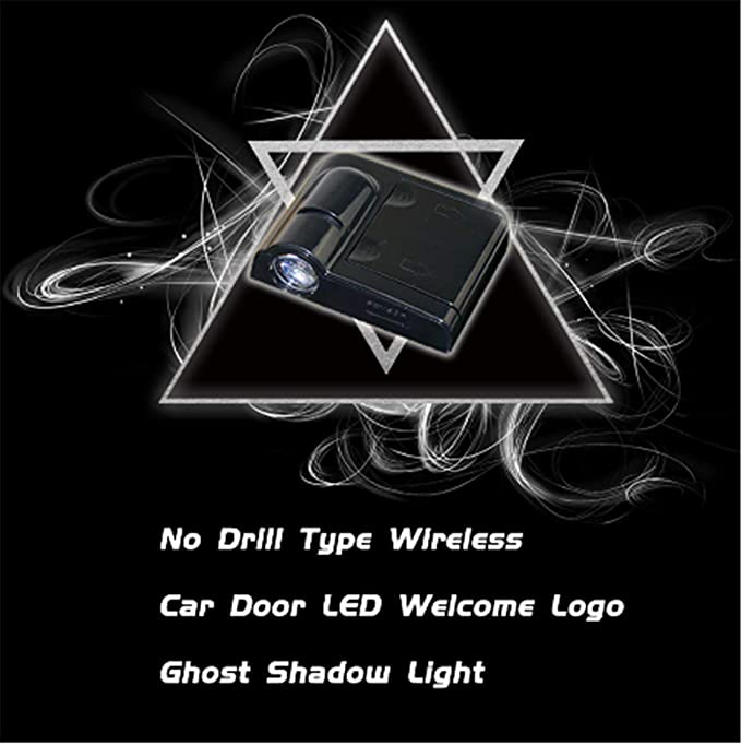 Audi No DrillingLed Laser Door Shadow Light Welcome Projector Lamps Fits Ford VW Dodge Toyota 2pcs 3D Ghost Shadow Emblems Wireless Door Sensor Lights Spiderman Crawl Honda