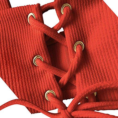 Mare Da Bagno Sexy Rosso Alta Kata Costume Bikini Donna Due Pezzi Swimwear Vita A8w5gqZT5