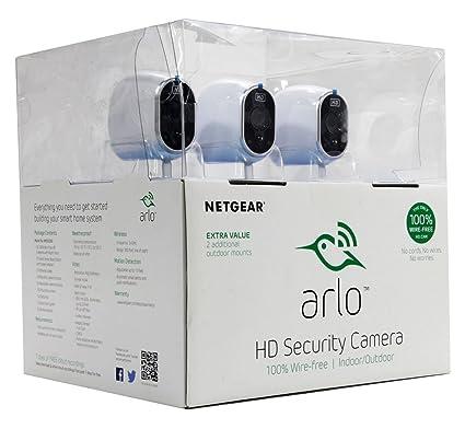 netgear arlo smart home security system w 3 hd wire free cameras night - Home Security Systems