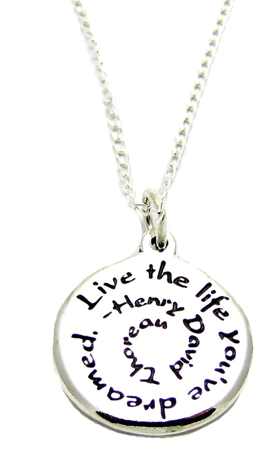 Amazon inspirational jewelry necklace sterling silver henry amazon inspirational jewelry necklace sterling silver henry david thoreau live the life youve dreamed quote jewelry aloadofball Images