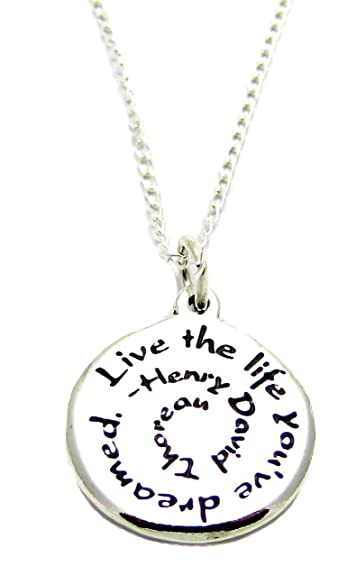 Amazon inspirational jewelry necklace sterling silver henry inspirational jewelry necklace sterling silver henry david thoreau live the life youve dreamed quote aloadofball Images