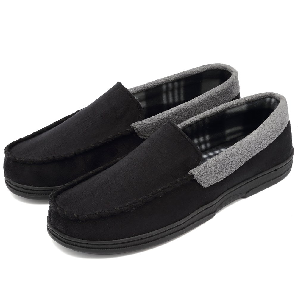 CIOR Fantiny Men's Casual Memory Foam Pile Lined Slip On Moccasin Flats Slippers Micro Suede Indoor Outdoor Rubber Sole-U1MTM011-Black-44
