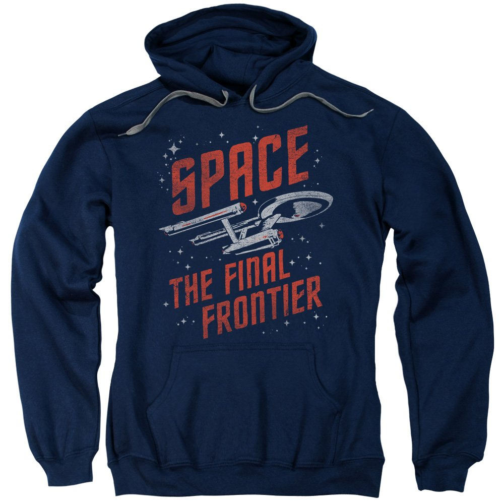 Star Trek Final Frontier Space Travel Adult Men's Pull-Over Hoodie Navy Blue (Large)