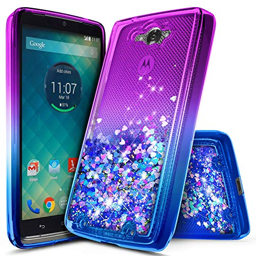 Droid Turbo Case, NageBee Glitter Liquid Quicksand Waterfall Floating Flowing Sparkle Shiny Bling Diamond Shockproof Girls Cute Case for Moto Droid Turbo XT1254 (Purple/Blue)