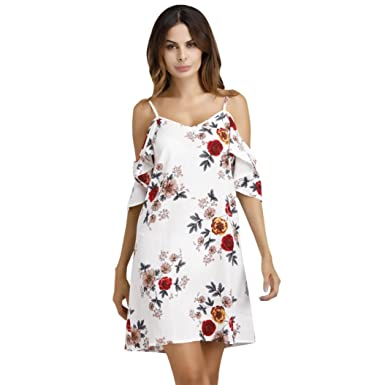 NEEDRA Sling Dress, Women Cold Shoulder Casual Flower Print Mini Dress Ruffle
