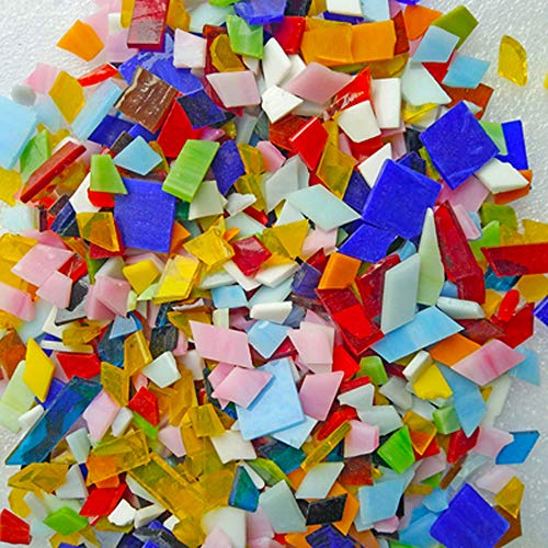 Mosaic Tiles Stained Glass - 1.1 lb Textured Glass Mosaic Making Supplies with Handmade for DIY Art Crafts,Home Decorations