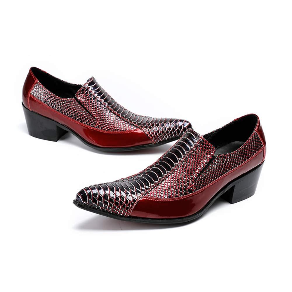 Sunny&Baby Männer Männer Männer Premium Snakeskin Textur Echtes OX Lackleder Oxfords Herren Spitz Toe Slip-on Party Kleid Schuhe Abriebfeste (Farbe   Rot, Größe   37 EU) 727250