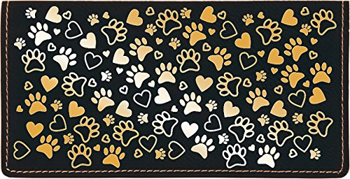(Paw Prints Laser Engraved Leatherette Checkbook Cover )