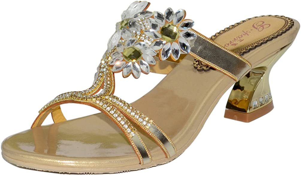 Abby Womens Sweet Wedding Party Show Work Rhinestone Block Heel Micro-Fiber Sandals