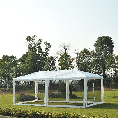 Outsunny 10' x 20' Canopy Gazebo Party Tent w/Mesh Side Walls 10x20 White Party Tent Gazebo