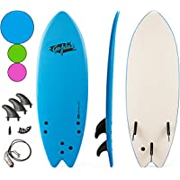 "Goplus 5'5"" Surfboard, Soft Top Surf Board, Lightweight Bodyboard Surfing Foamie Board with 3 Removable Fins, Adjustable Wrist Rope, Great Beginner Board for Kids and Adults"