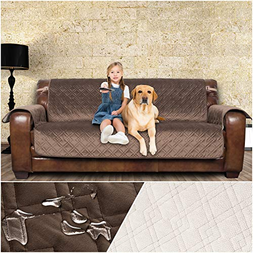 Large Leather Sofa - YESYEES Leather Sofa Cover Sofa Slipcover - Water Repellant Luxury Soft Velvet Couch Cover for Dogs and Kids with Nonslip Backing and Elastic Strap