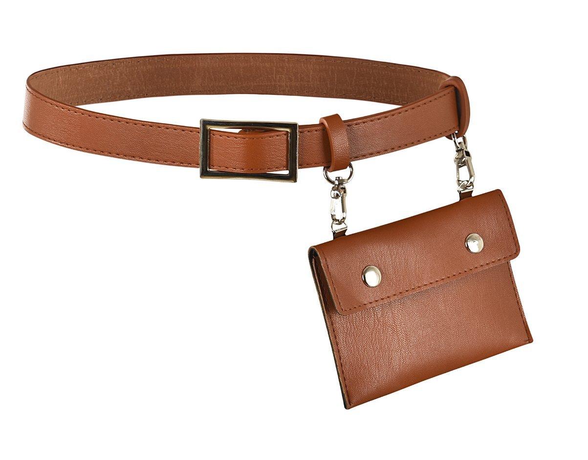 Women's Fashion Elegant Leather Brown Waist Fanny Pack Belt With Purse Pocket Stylish For Girls Women