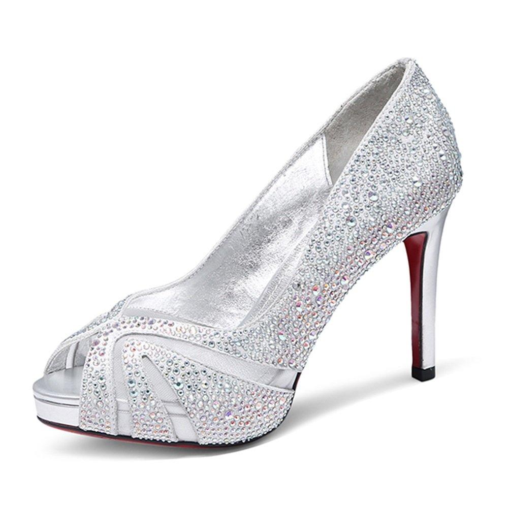 GYHDDP Sandalias de Tacón Alto para Mujer \ Zapatos de Boca de Pescado \ Sandalias de Moda Primavera Verano \ Zapatos de Boda (Color : La Plata, Tamaño : 34)