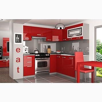 Justyou lidja l pro l küche küchenzeile küchenblock 190x170 cm farbe rot hochglanz