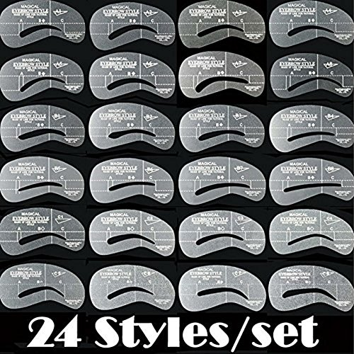 AKOAK Newest 24 Styles 6 Sets Eyebrow Grooming Stencil Kit Template Make Up Shaping Shaper