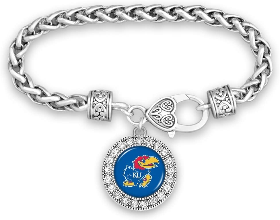 FTH Kansas Jayhawks Silver Tone Bracelet with Round Team Logo and Embellished with Crystals