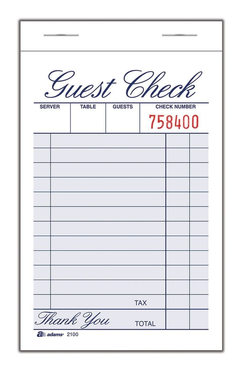 Adams Guest Check Pad, 1 Part, 3.34 x 5.44 Inches, 100 Sheets per Pad, 12 Pads per Pack, White (2100-12) TOPS Business Forms Inc.