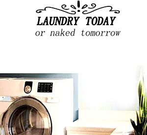"""BIBITIME 22.83"""" x 9.44"""" Laundry Today or Naked Tomorrow Vinyl Wall Quotes Decal Sticker Room Decor Saying English Lettering PVC Decorations for Bathroom"""