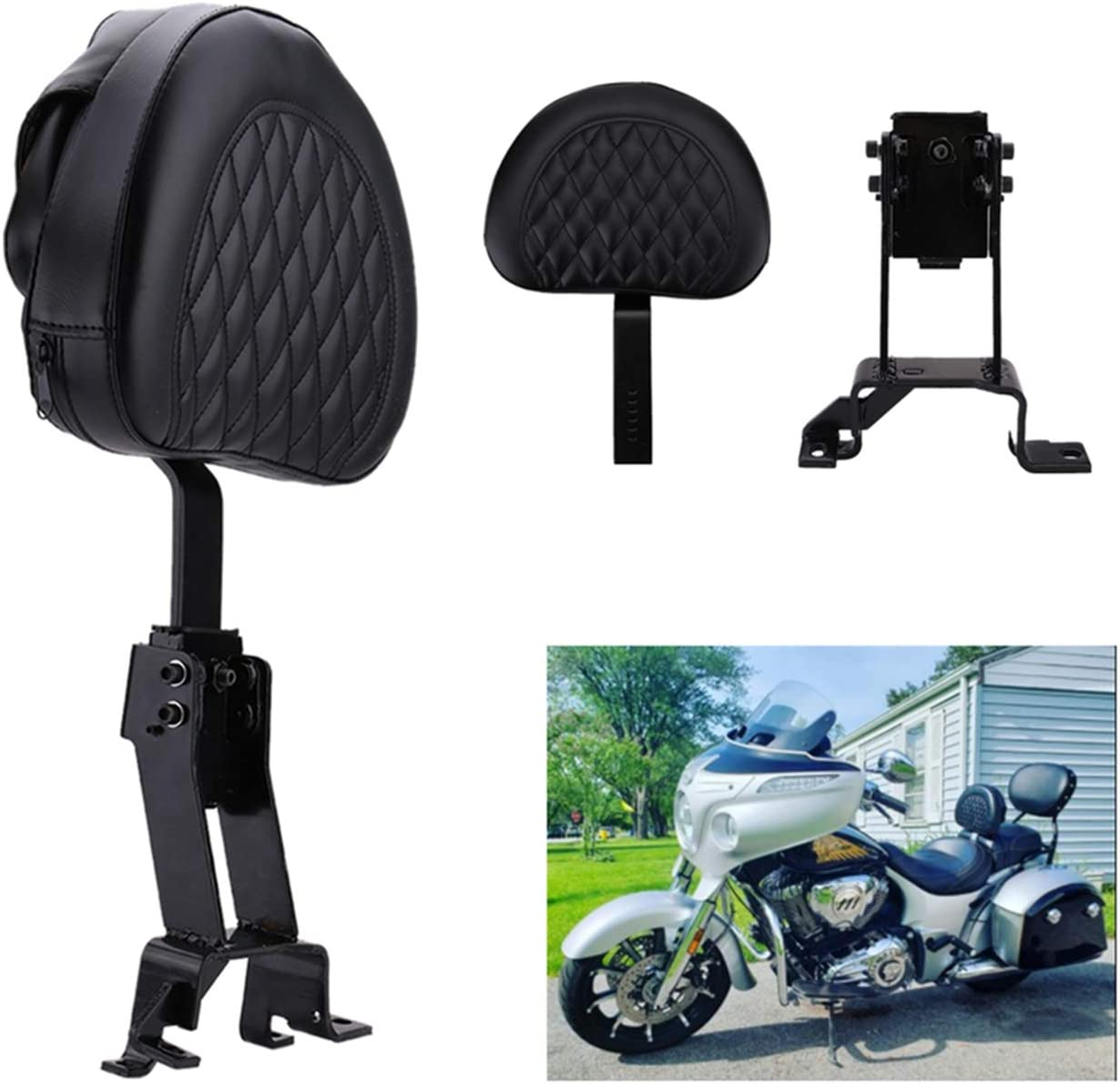 Springfield Models 2014-2018 Chieftain Type A Chief Dark Horse Roadmaster Chief Vintage Plug In Driver Backrest Pad Rider Sissy Bar Back Rest With Pocket For Indian Chief Classic