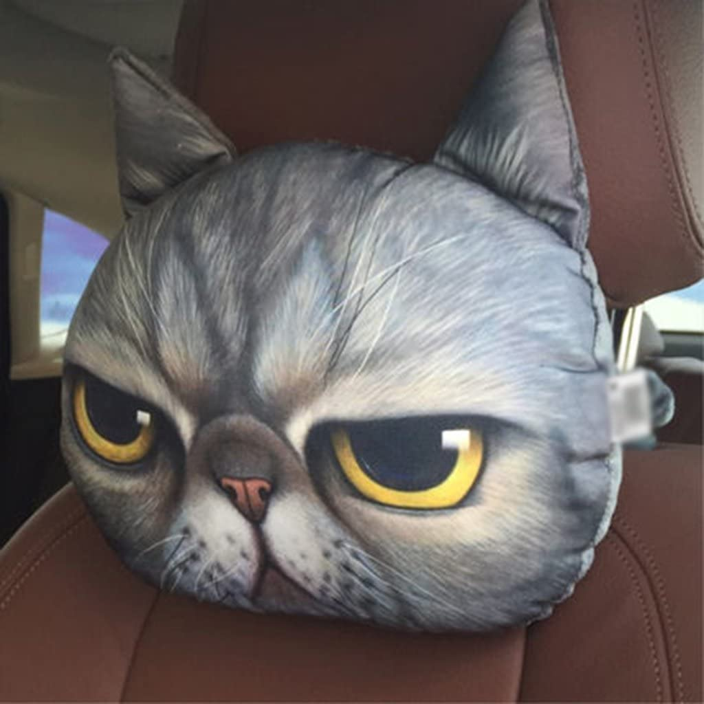 Auto Kopfst/ütze Memory Foam Neck Support 3D Cartoon Bambuskohle Nackenkissen Nette Katze Tierkopf Kissen