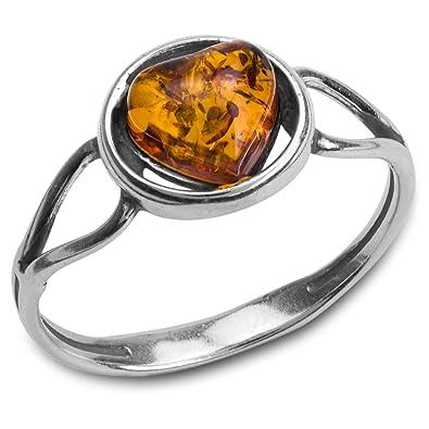 Noeud celtique solitaire ovale en argent 925 et ambre Noda bague pour femme