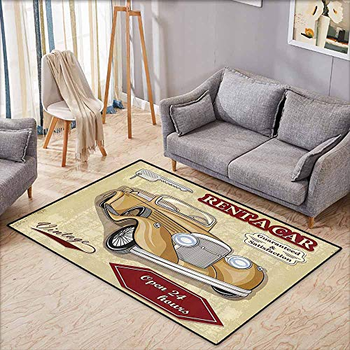 Large Door mat,Cars Decor,Vintage Car Rentals Commercial Illustration Print with Keys Original Dated Auto Objects Design,Ideal Gift for Children,3'11