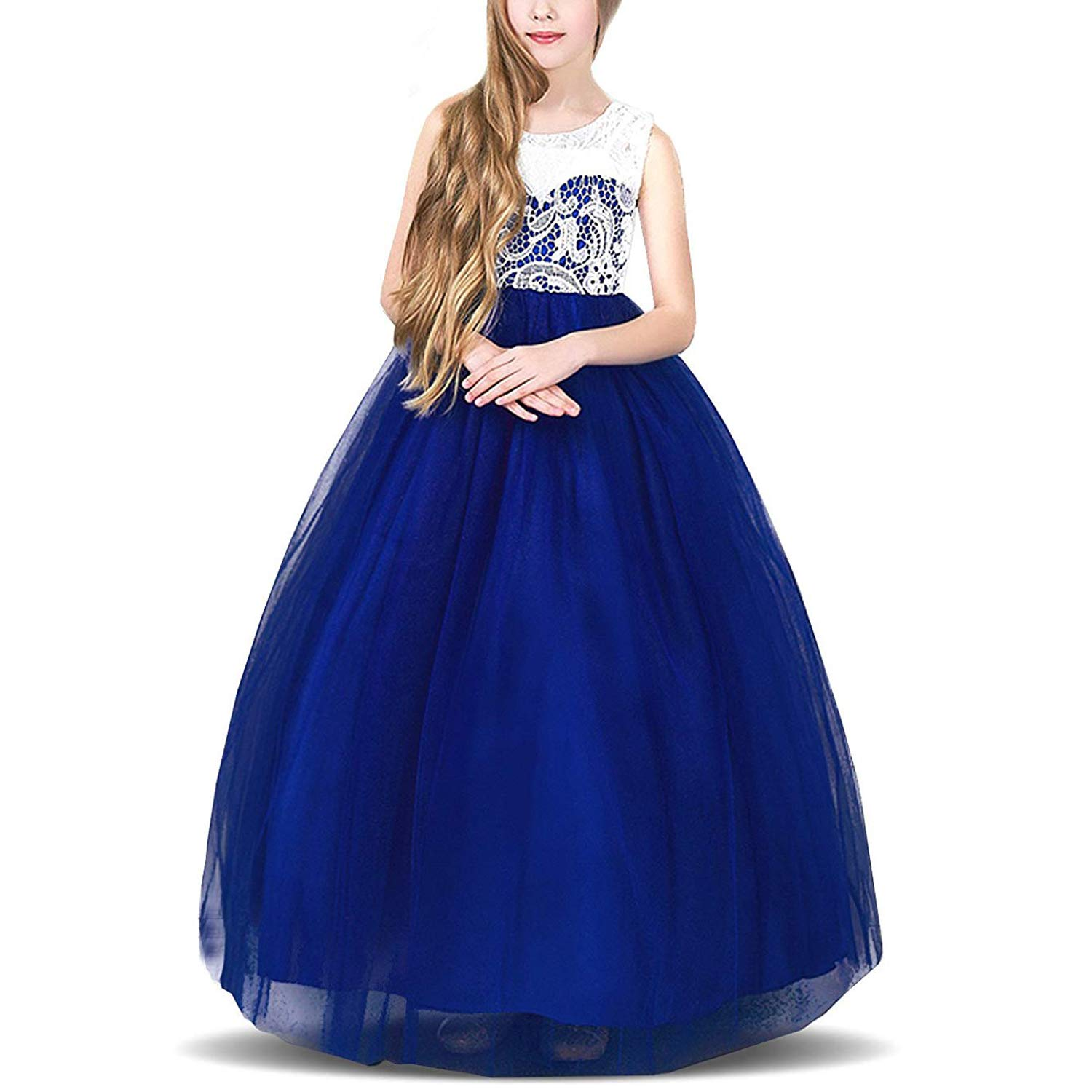 TTYAOVO Kids Prom Ball Gown Girl Lace Tulle Flower Princess Party Maxi Dress
