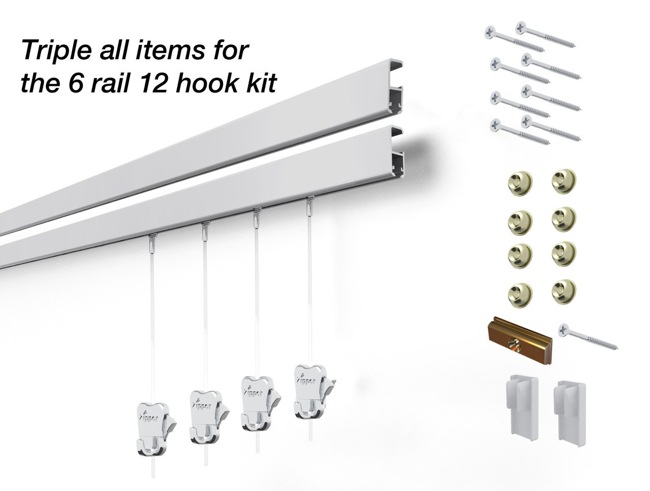 12 Hanging Components STAS Cliprail Pro Picture Hanging System Kit- Heavy Duty Track and Art Hanging Gallery Kit for Home, Office or Public Space (6 rails 12 hooks and cords, matte silver rails)