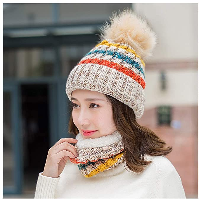 YN Sombrero de Lana para Mujer Invierno Coreano Gorro de Punto Grueso Lindo  y cálido Sombrero para jóvenes Jalar Sombrero + Bufanda 2 Sets Práctico  cálido ... 031d287fbf1