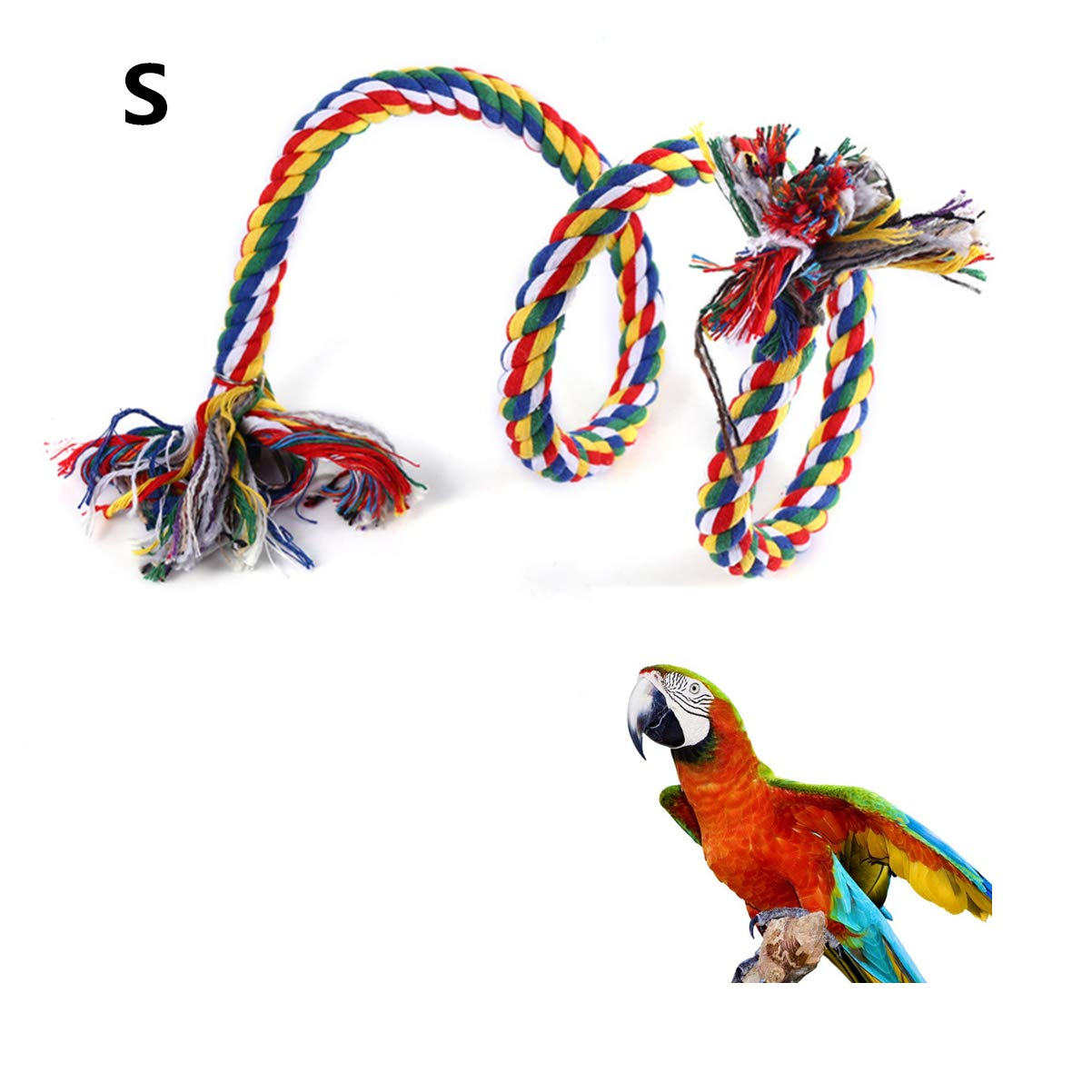 Citmage Bird Perch Thick Cotton Rope Bungee Bird Swing Climbing Toys with Bell and Hook Bite, Climb, Chew, Swing, Provide Exercise for Parrots, Macaws, Parakeets, African Gray Swing for Parrots African Gray(Colorful L)