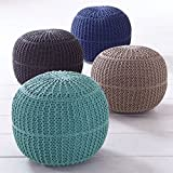 BrylaneHome Bh Studio Hand-Knitted Ottoman Pouf (Blue,0)
