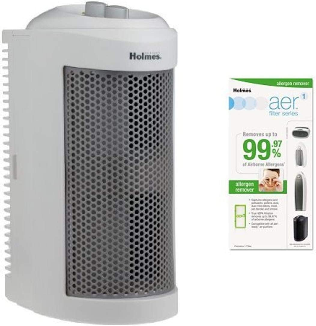Holmes True HEPA Allergen Remover Mini Tower Air Purifier with Allergen Remover Filter