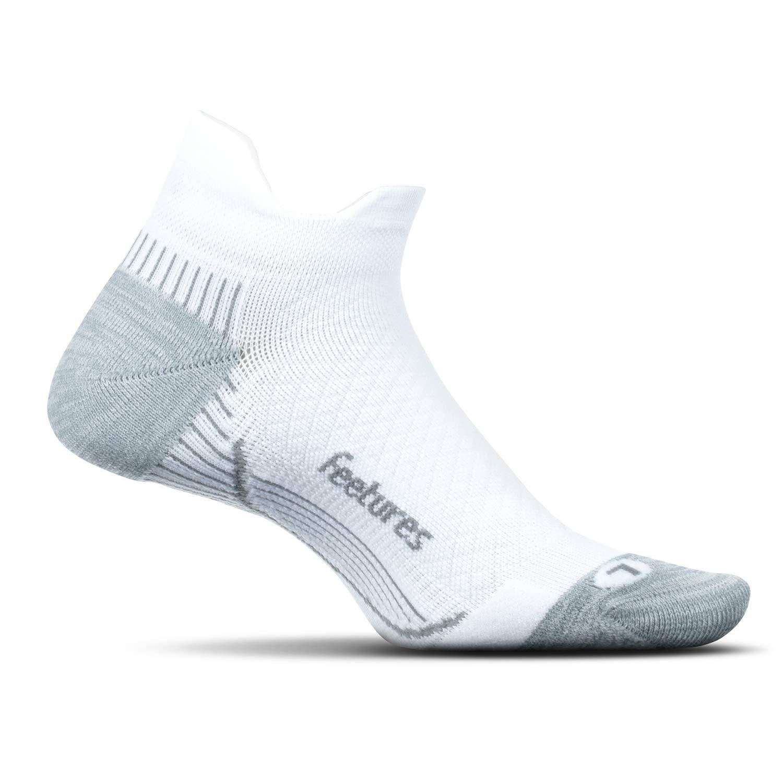 Feetures Plantar Fasciitis Relief Sock - Cushion - No Show Tab - White - Size Medium