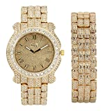 New!!! Bling-ed Out Round Case Metal Mens Watch w/ Matching Bling-ed Out Bracelet Gift Set - L0133 Gold