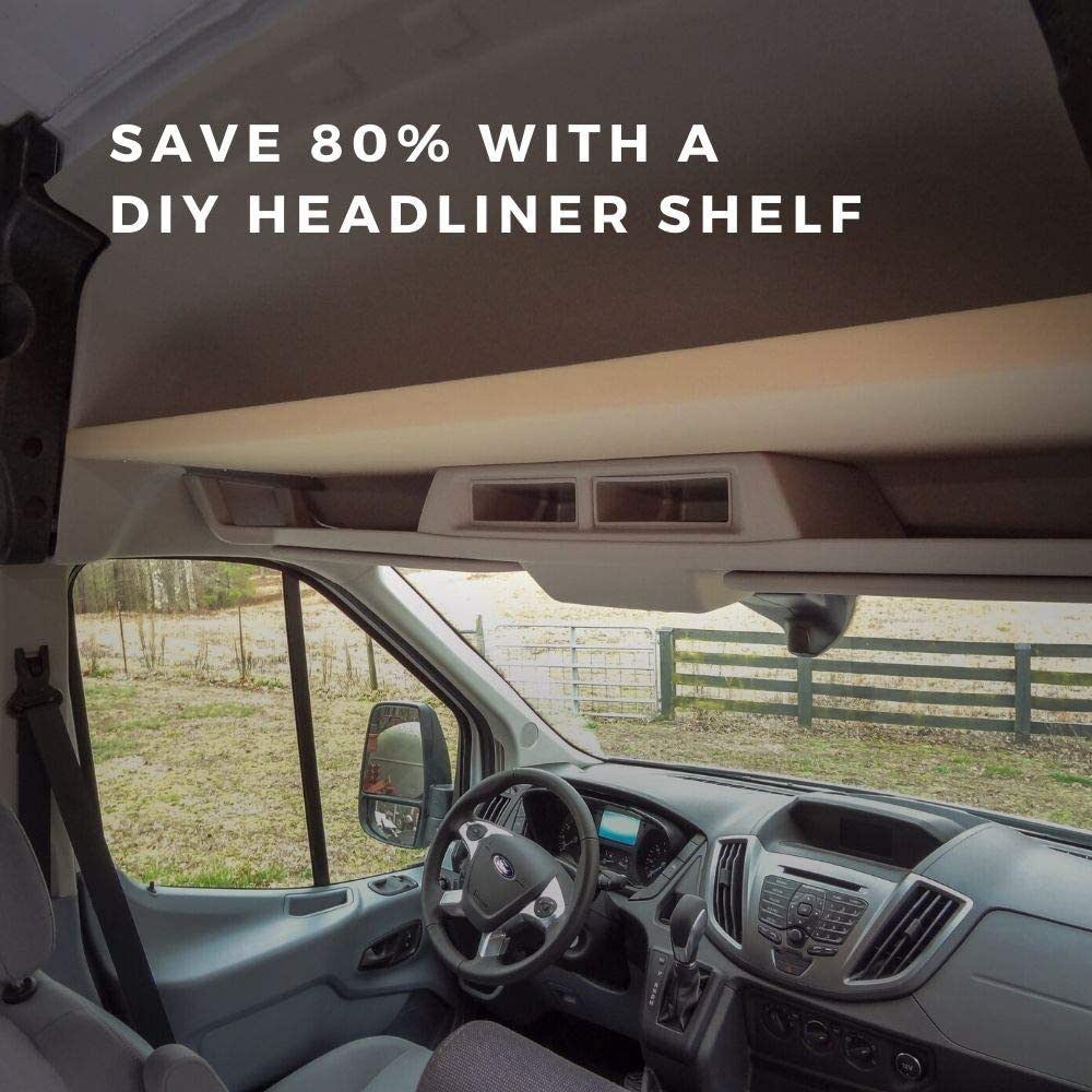 Vancillary DIY Ford Transit Headliner Shelf Kit Fits Ford Transit Medium and High Roof Models 2015+ Upfitting Components for DIY Van Conversions