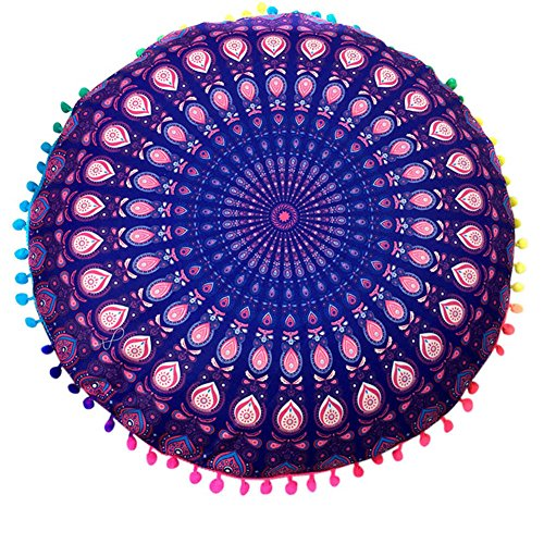 (Rumfo Round Pillow Cover Indian Mandala Style Floor Pillows Case Bohemian Cushion Covers Ottoman Poufs Case Outdoor Cushion Cover (Pattern 1) )